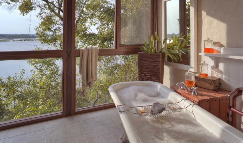 The beauty of the Zambezi from the comfort of the bath tub
