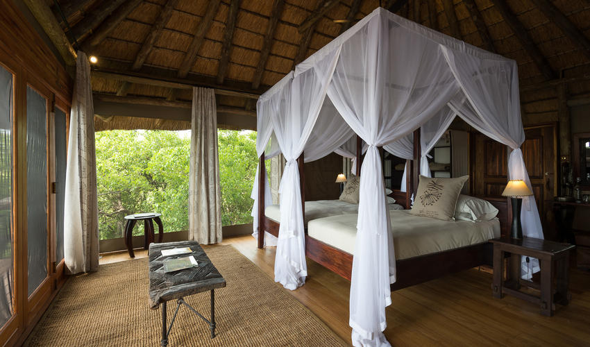 A twin bed tent with views of the Linyanti