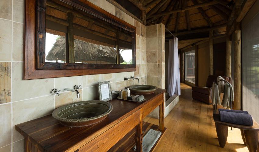 The stylish en-suite bathroom