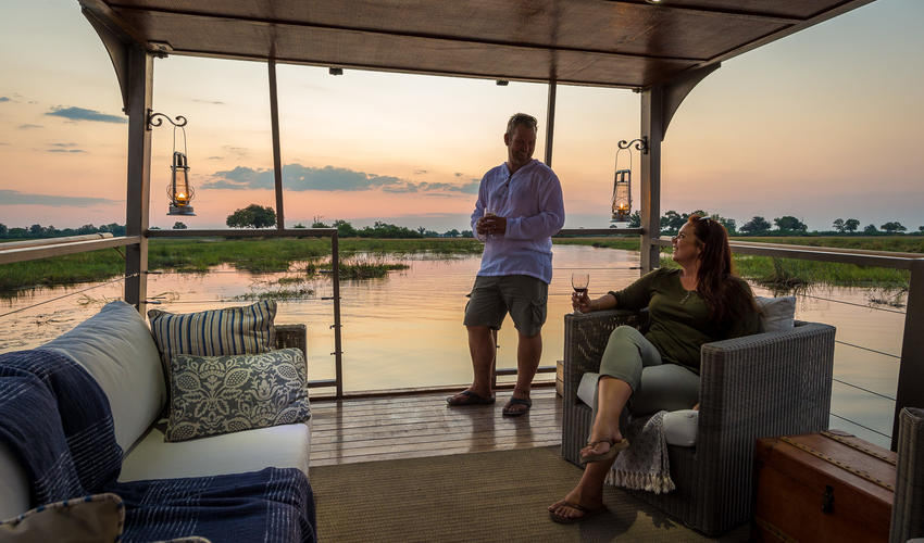 Sundowners on the Queen Sylvia barge (seasonal, dependent on water levels)