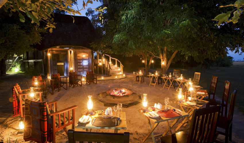 Drinks around the Fire at Selinda Camp
