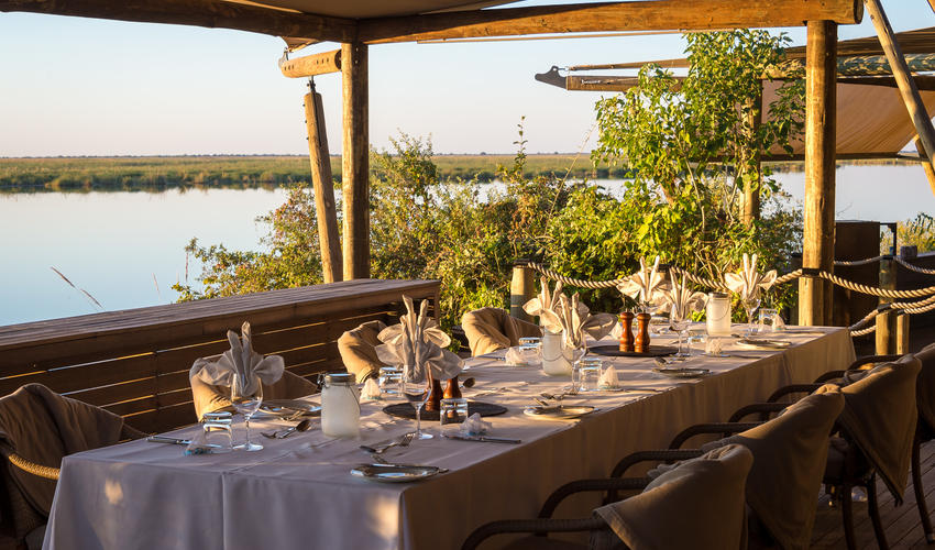 Dinner table with a beautiful view of Osprey Lagoon