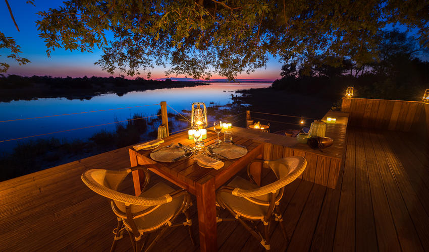 Private dining at the Zibadianja lagoon hide/sleep-out