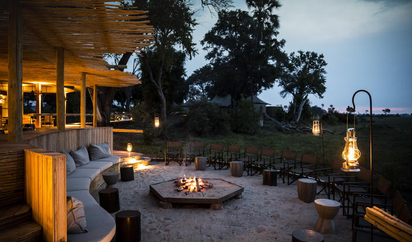 The fire-pit invites safari tales from guests and guides