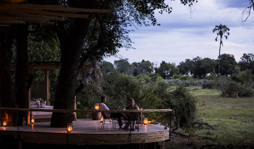 Taking in the view from a guest tent's private deck