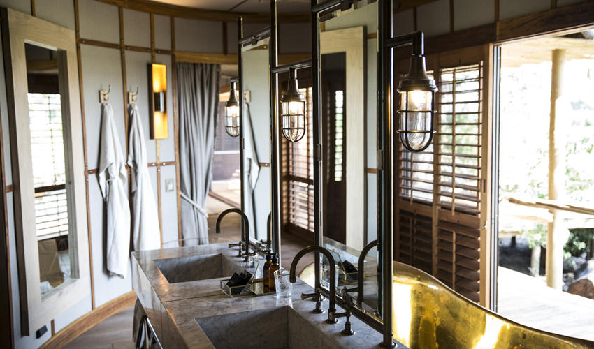 Double-vanity amenities are a feature of every bathroom