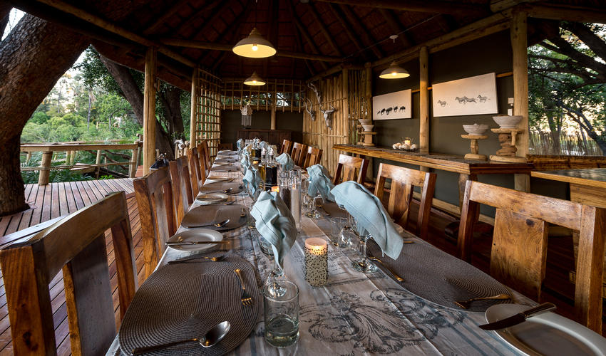 Meals can be enjoyed inside in the main dining area