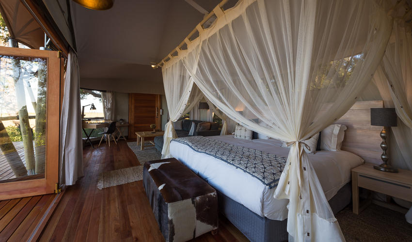 Contemporary African decor in each of the guest tents