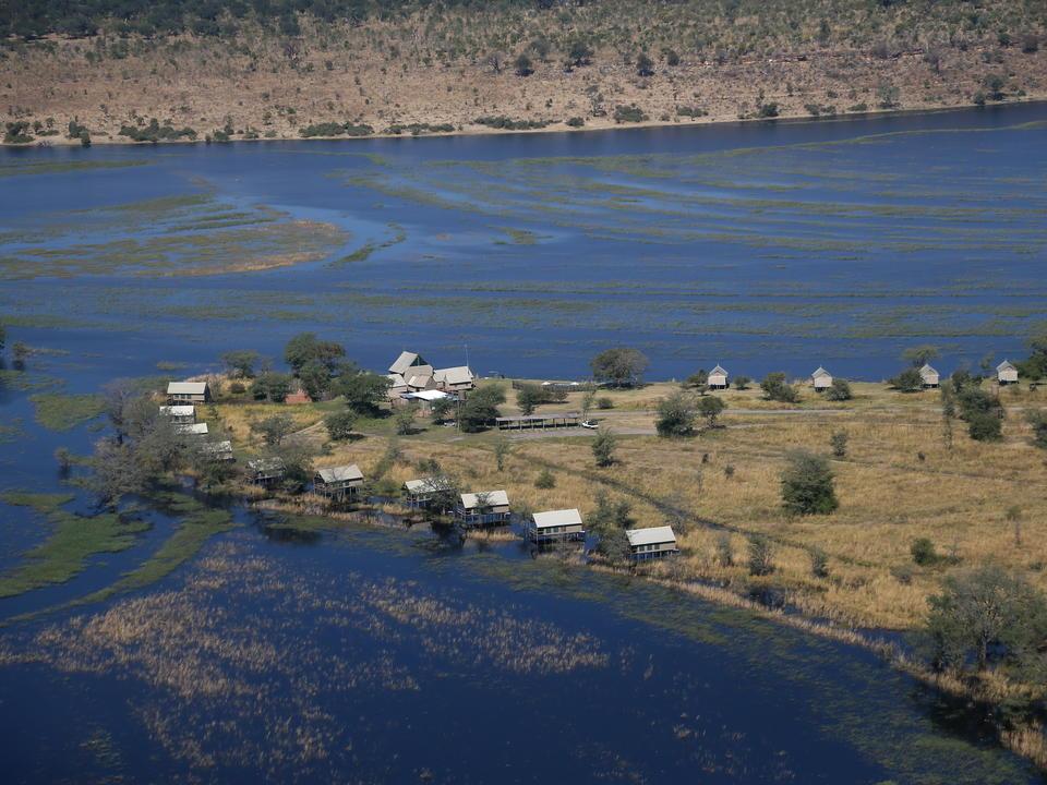 Das Chobe River Camp aus der Vogelperspektive