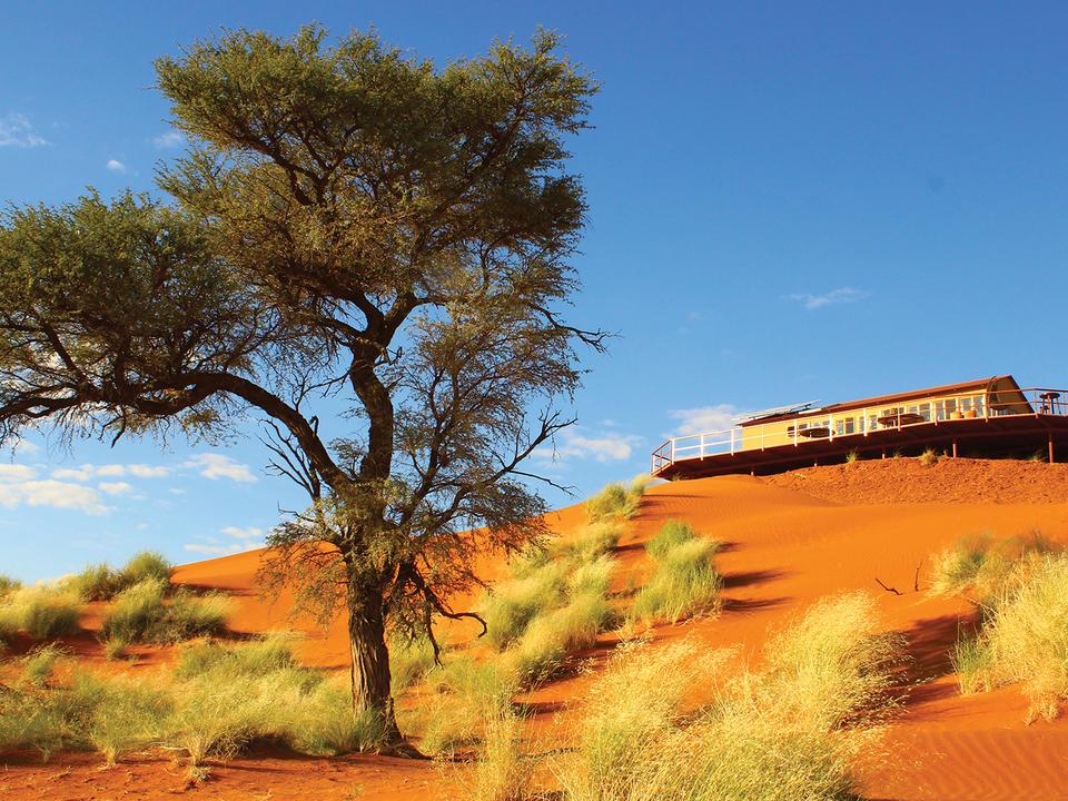 Eine kurze Fahrt im offenen Geländewagen durch die Farbsinfonie der Namib, dann schälen sich die neun idyllischen Holzhäuschen des Dune Star Camps aus der spektakulären Landschaft.