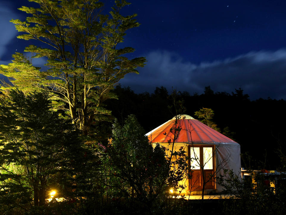 Yurt at night in Patagonia Camp
