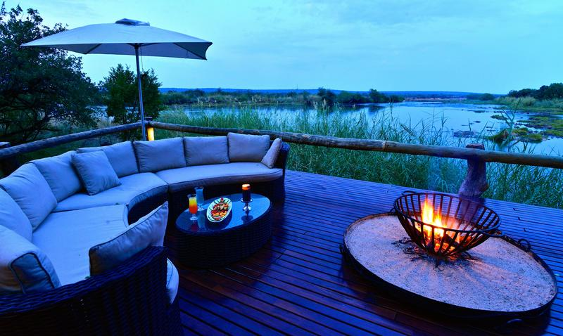 Camp fire overlooking the Zambezi
