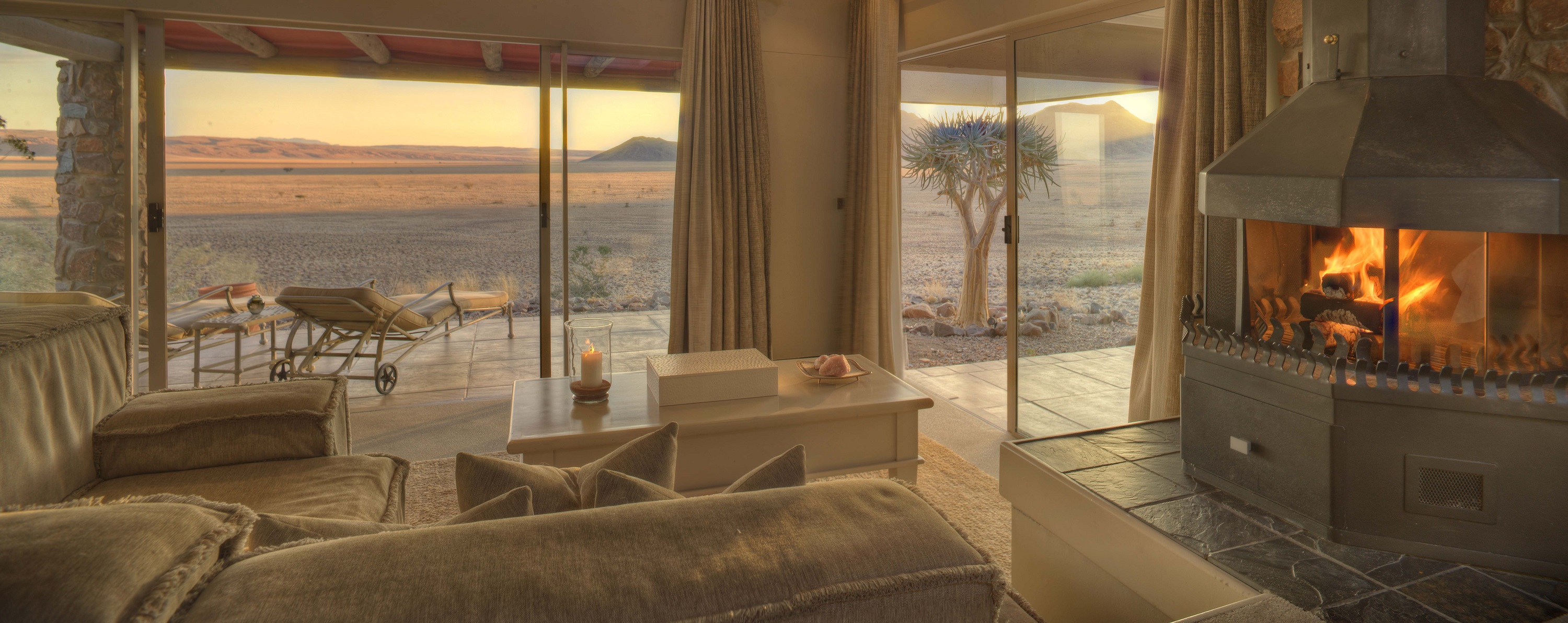 Bedroom With Fireplace Andbeyond Sossusvlei Desert Lodge