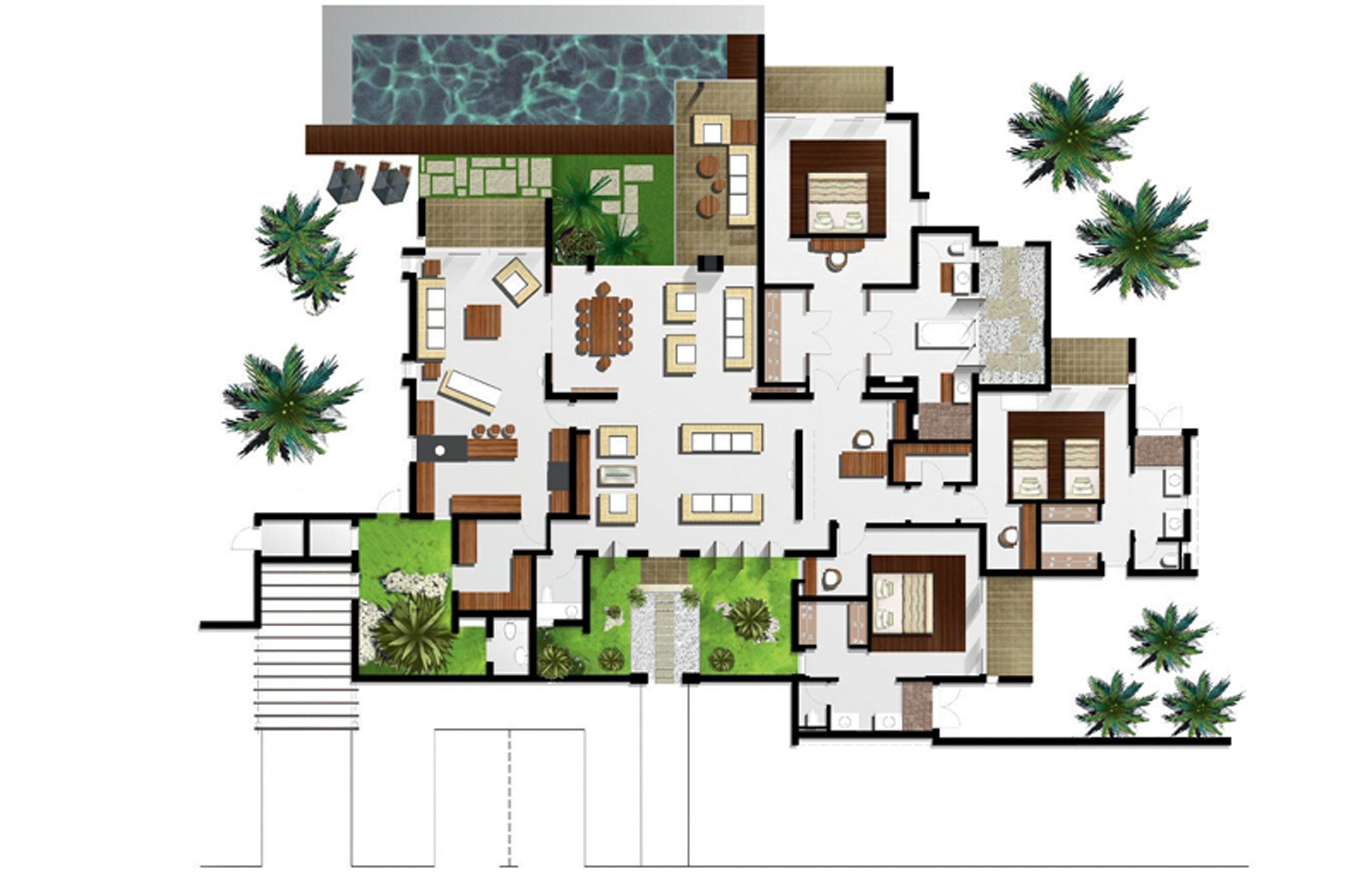 floor plan of the 2 bedroom villas floor pan of the 3 bedroom villas